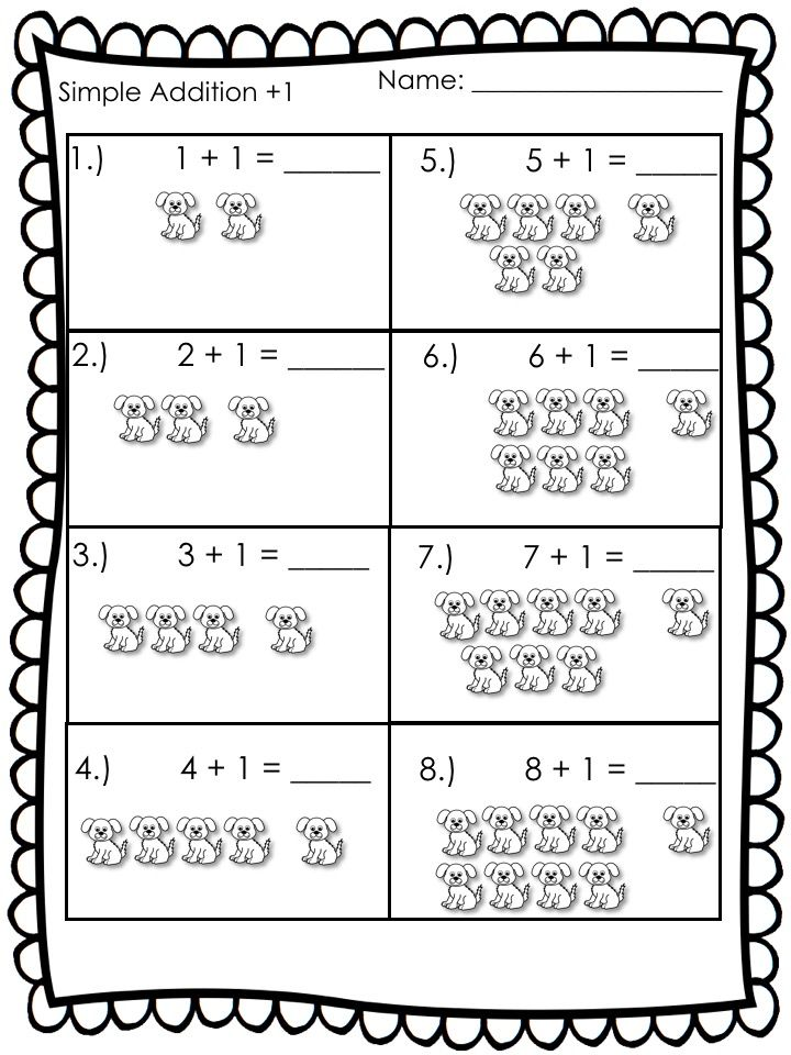 Simple addition and subtraction worksheets with pictures