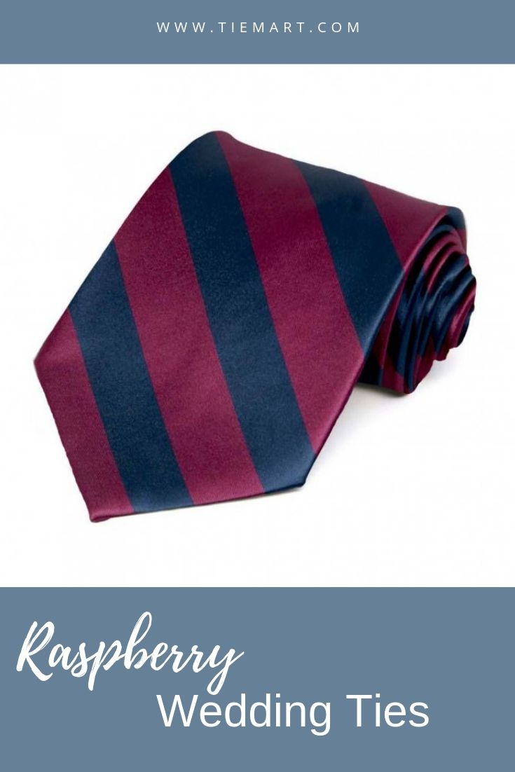 TieMart Red and Navy Blue Striped Pocket Square