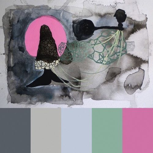We discovered today's CMYLK subject, American artist Erin McIntosh, on Pinterest. Her abstract paintings and works on paper explore the current fascination with polyhedrons, with a dash of neon thrown in. The colors are also quite appealing; we love the resulting Colourlovers palettes we put together.