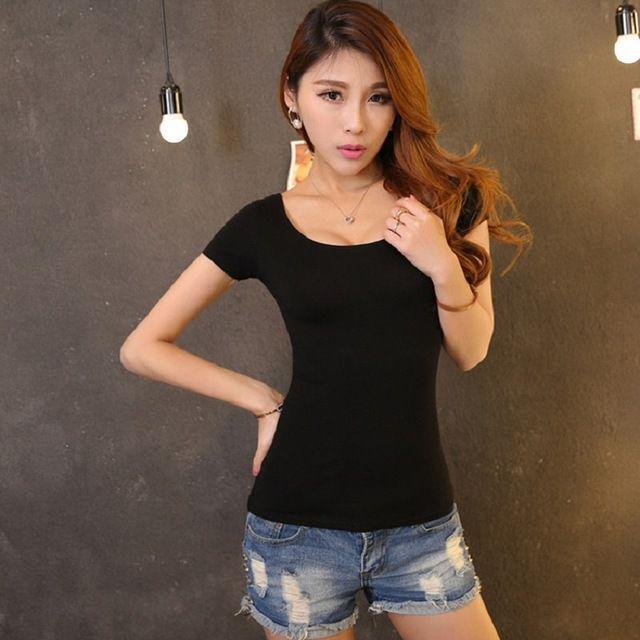 Letnie nowe panie przyjazdu mody prosta jednolity kolor krótkim rękawem t shirt wysokiej elastyczna slim fit sexy t-shirt dla kobiet