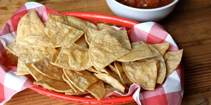 These baked corn tortilla chips taste fresh and have a satisfying crunch you'll love, without the guilt. Only 78 calories per serving! Get the recipe.
