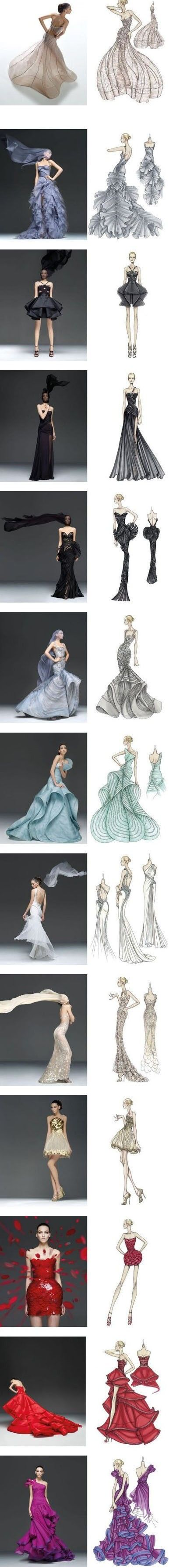 Beautiful examples of fashion illustrations and the garments they are based on