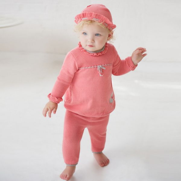 Adorable two piece set in soft cotton, for baby girls in Spring!
