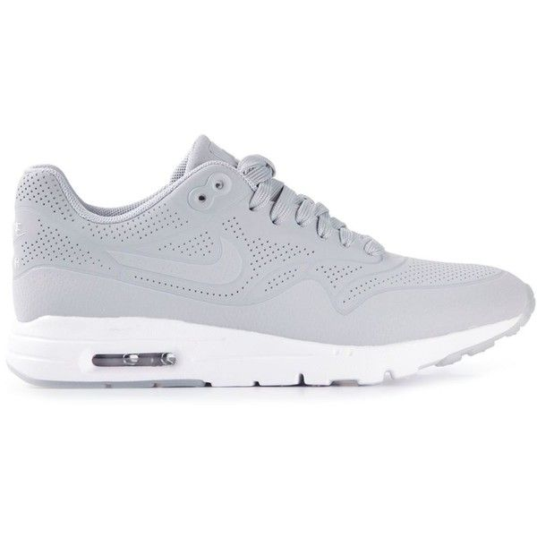 Nike Air Max 1 Sneakers ($127) ❤ liked on Polyvore featuring shoes, sneakers, nike, grey, nike shoes, perforated leather shoes, grey shoes en nike trainers