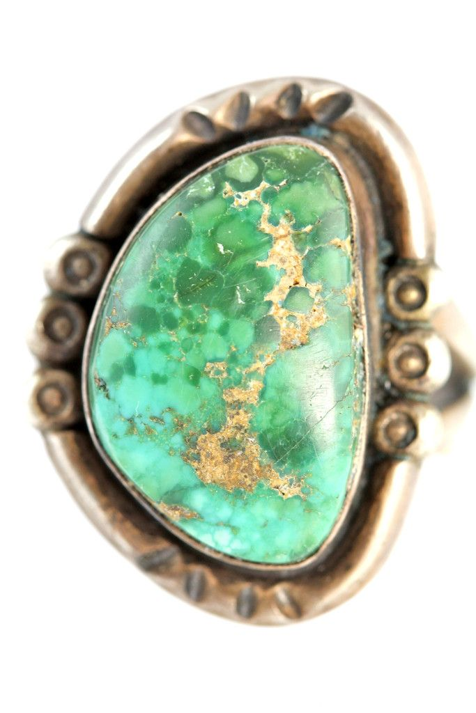 Old Navajo Sterling Silver & Natural Green Turquoise Ring