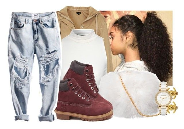 """"""""""" by eazybreezy305 ❤ liked on Polyvore featuring Topshop, Jane Norman, Timberland, Chanel, Michael Kors, cute, Trendy and Fall2016"""
