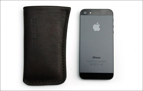 Leather iPhone 4 or 5 cover Customise to any smartphone size by deBruir, $38.00