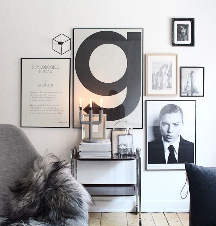 Stunning monochrome poster wall with the iconic Playtype G. A great mix of graphic design, photo art and illustrations. Find your favorite Playtype poster at THE POSTER CLUB.