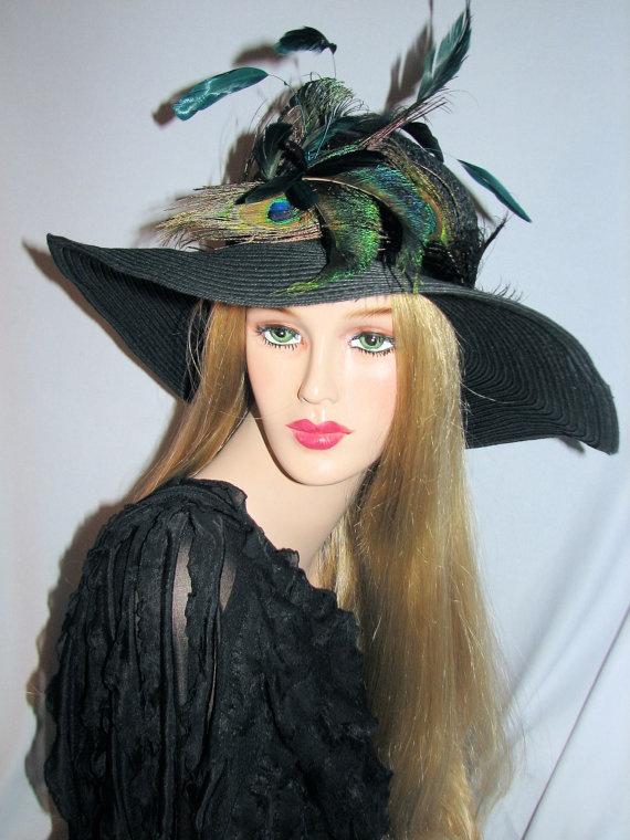 """Black Wide Brim Peacock Hat """"Lady Peacock""""     $68.00"""