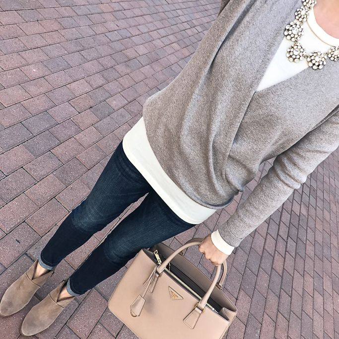 4 way convertible cardigan, Prada Gardener blush pink Tote, Vince Camuto Franell western booties, petite skinny ankle jeans, crystal round necklace, fall outfit, winter outfit, casual outfit - click the photo for outfit details!