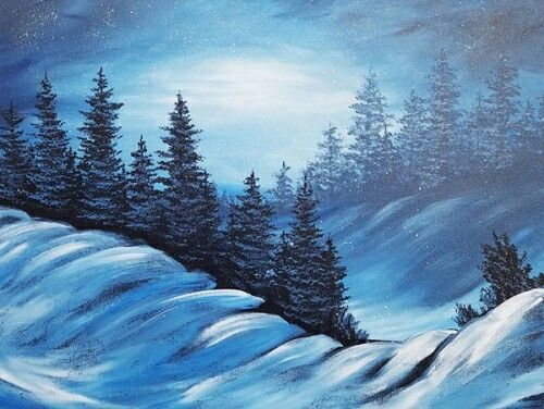 Beautiful winter snow landscape with evergreens and soft cold glow.