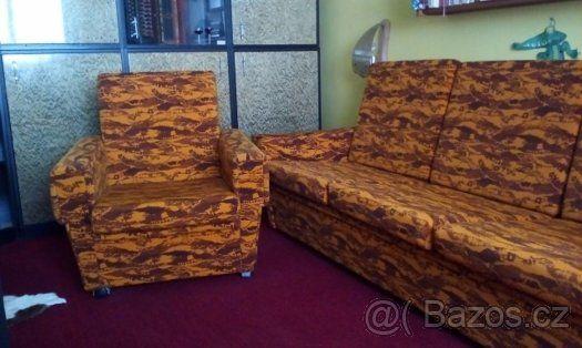 Komplet - rozkládací gauč - trojsedačka - plus 2 křesla - 1