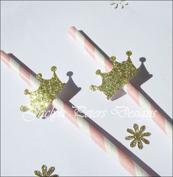 Her princess theme birthday party or baby shower will sparkle with our handmade glitter crown straws. Perfect for little prince's too in baby blue of course! Fabulous Features: - Sold in sets of 12 st