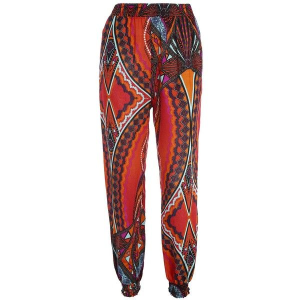Tribal Print High Waisted Pants with Pockets ($16) ❤ liked on Polyvore featuring pants, high-waisted trousers, high waisted tribal pants, red pants, tribal print pants and tribal print trousers