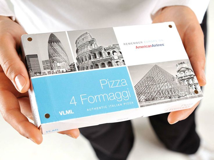 American Airlines - Packaging Design: Remember Europe on American Airlines Packaging Pizza:  http://www.keybusiness.it/clients/131/584