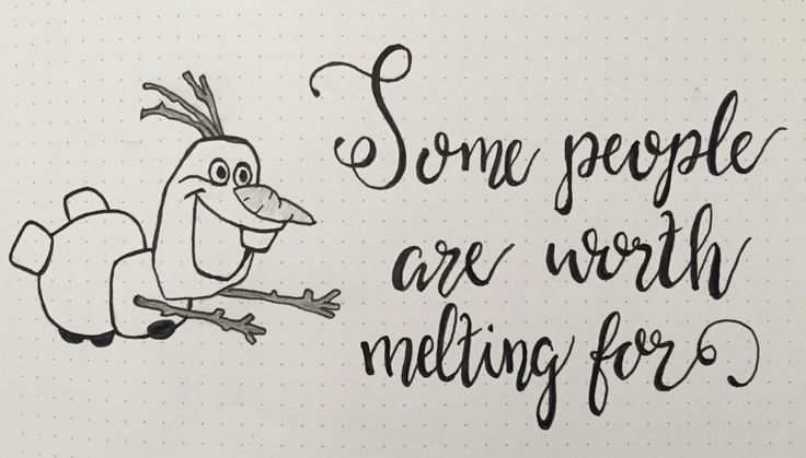 Let it go, Olaf, Frozen quote, hand lettering, script, sketch, drawing