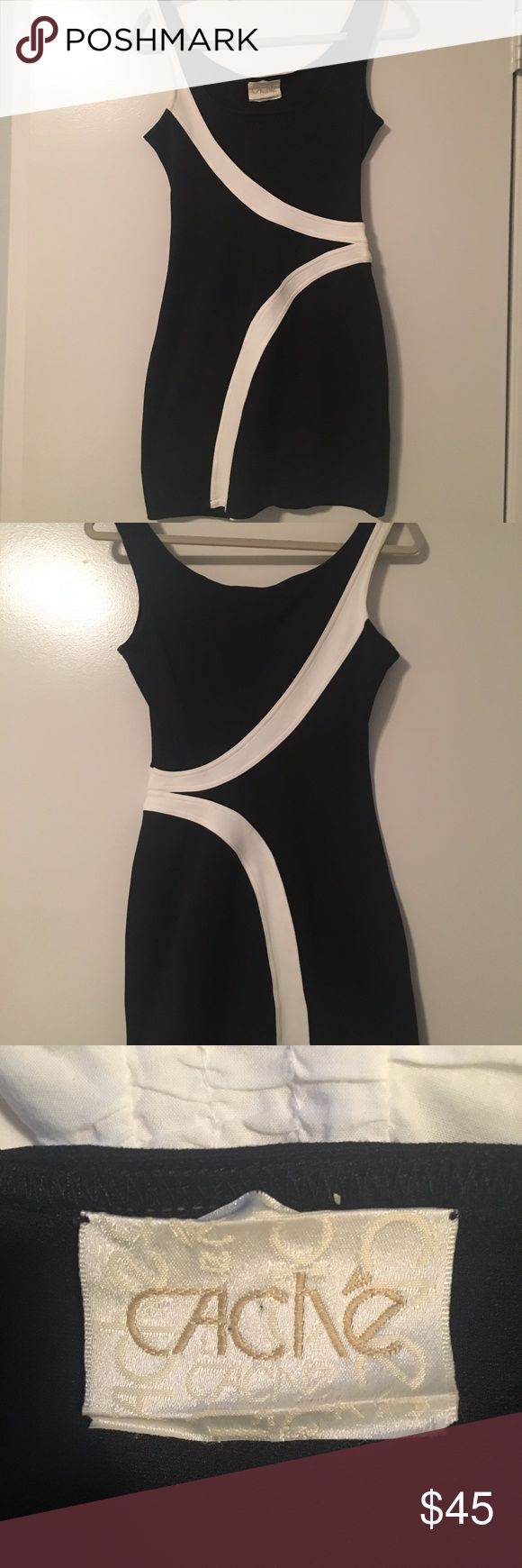 Cache LBD Black and White Bodycon Dress Fantastic black and white going-out bodycon/bandage-like dress with a flattering waist shaping cut and stretch. 86% tactel nylon 8% nylon 6% lycra Cache Dresses Mini