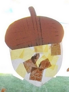 Suncatcher acorn- contact paper, tissue paper and construction paper