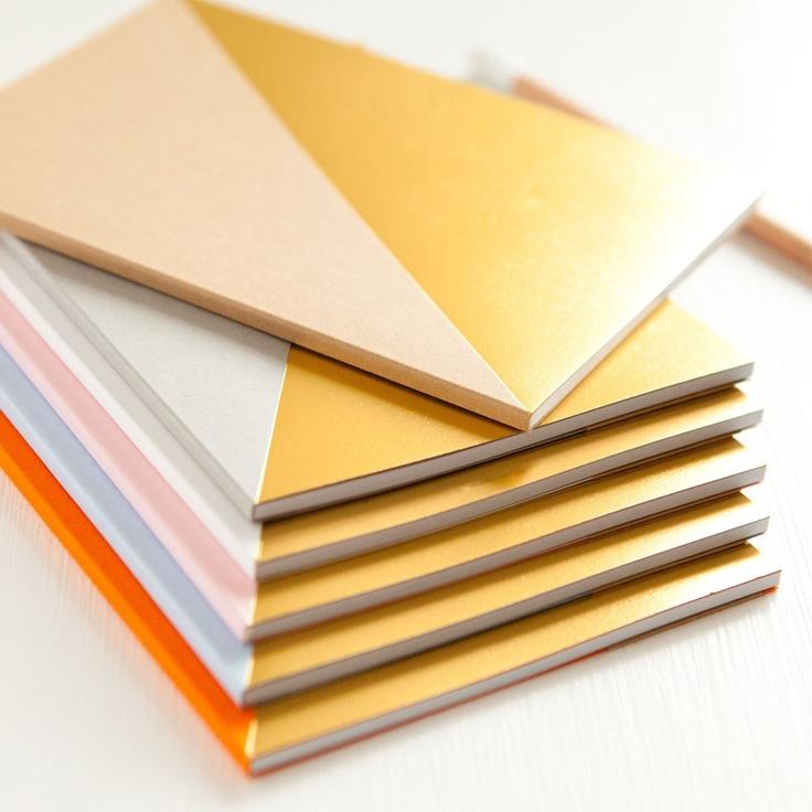 White  gold geometric notebook