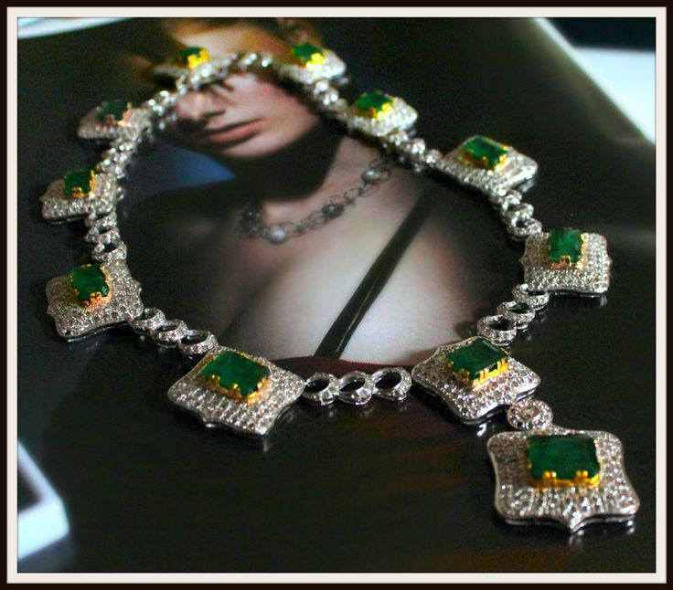 Natural Estate Green Zambian Emerald 18k gold diamond Necklace certified estate #necklace