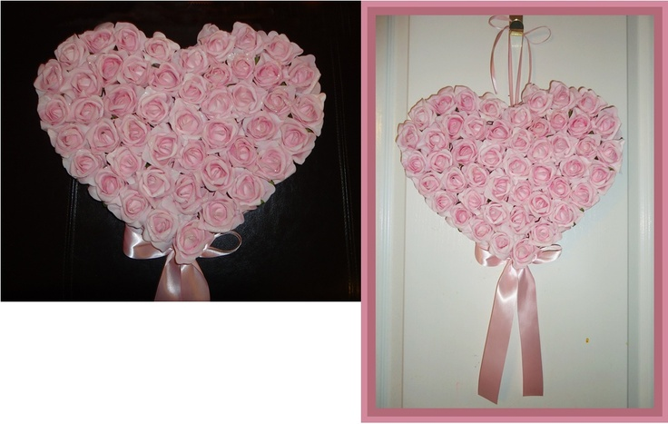 Available, pink rose filled heart shaped wall décor.  Makes a great gift for Mother's Day, Valentine's or a birthday occasion.