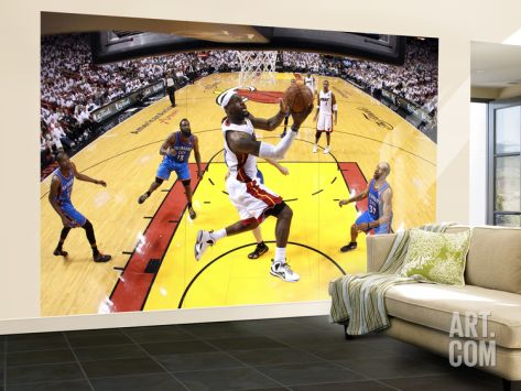 Miami, FL - June 21:  Miami Heat and Oklahoma City Thunder Game Five, LeBron James and Derek Fisher Wall Mural