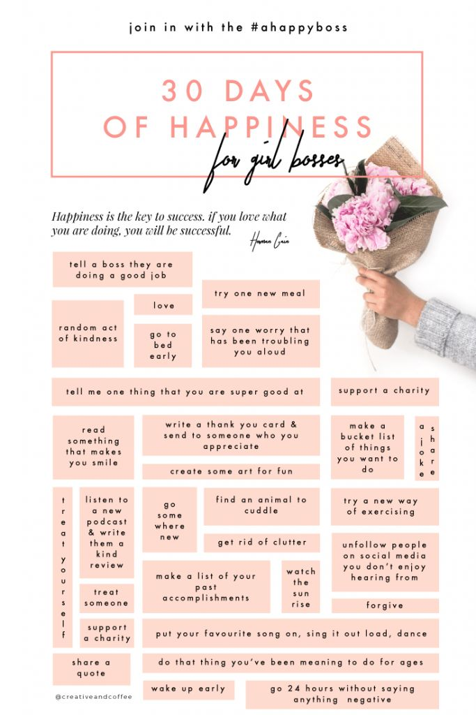 The 30 Days of Happiness Challenge is about taking a small action, every day, for thirty days, that brings a smile to your face. That's all there is to it. #ahappyboss via @creativeandcoffee