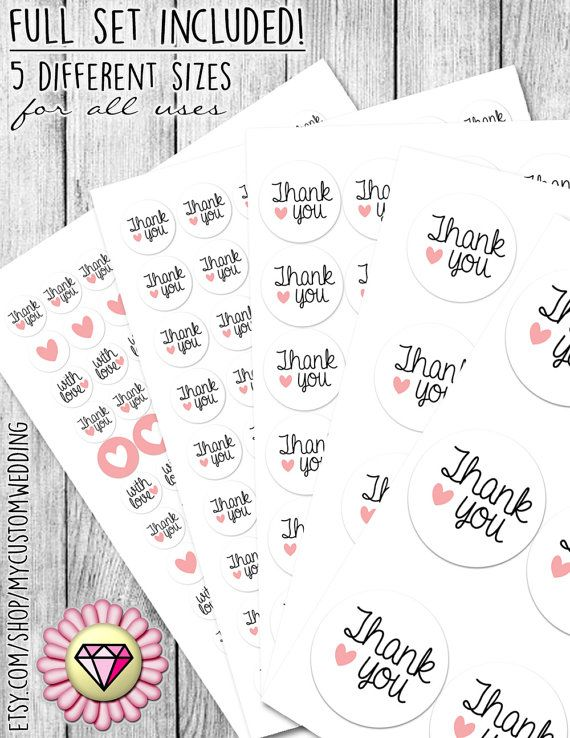 Full set thank you round stickers by on the perfect touch for any wedding favor mason jars envelopes invitations gift bags hersheys kisses and much