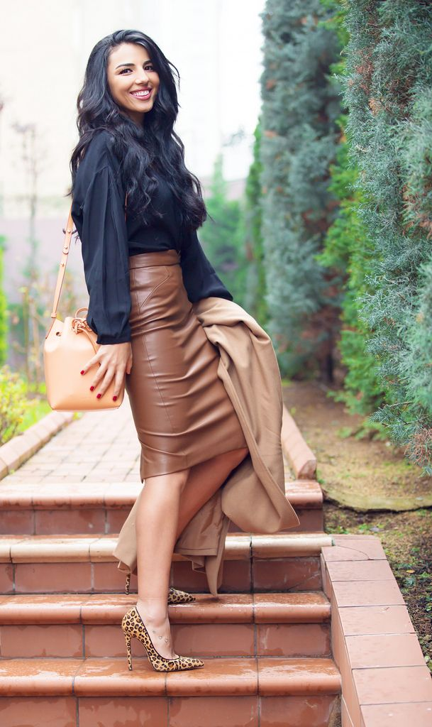 Love the leather pencil skirt and the color