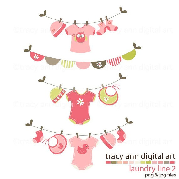 Baby Shower Clipart Clip art Laundry Line by TracyAnnDigitalArt, $6.95