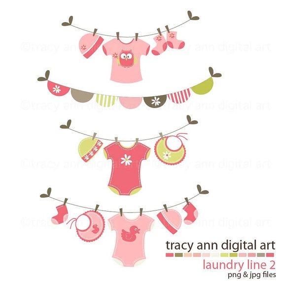 Baby Shower Clipart Clip art Laundry Line by TracyAnnDigitalArt, $6.95