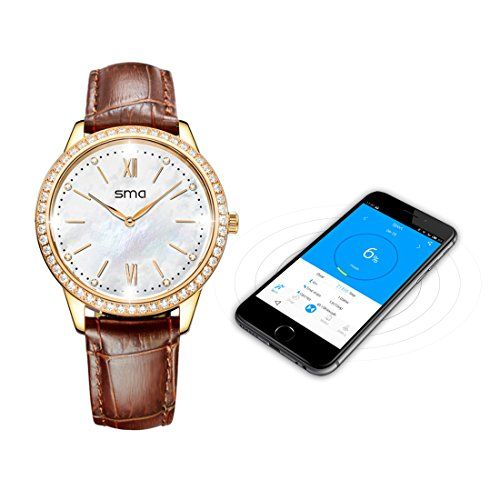 Fitness Tracker Watch Waterproof,Tracker Smartwatch Women,76pcs Swarovski Zircon,6 months Battery Standby Compatible with iPhones and Android Phones( Gold-leather)   Fitness Tracker Watch Waterproof,Tracker Smartwatch Women,76pcs Swarovski Zircon,6 months Battery Standby Compatible with iPhones and Android Phones