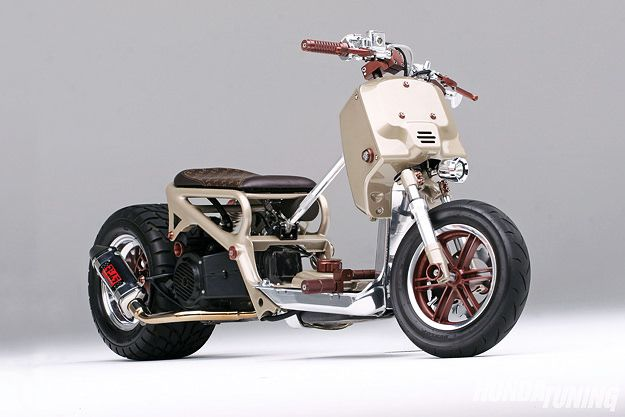 """Meet the """"LV Project,"""" a custom Honda Ruckus named after Louis Vuitton. Built by Rucksters and BTX Industries, it's sporting a 150cc GY6 engine."""