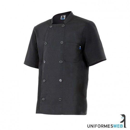 #chaquetilla de #cocina en color negro y manga corta para ropa de #trabajo en uniformes web