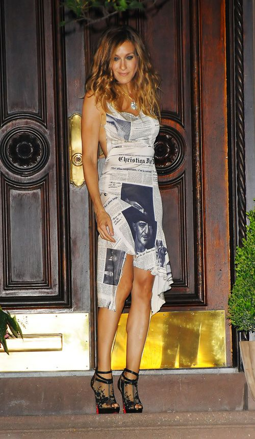 black and white. Galliano newspaper dress and louboutins. carrie bradshaw