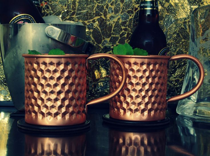 Pure Copper Moscow Mule Mug with a hexagonal debossed surface