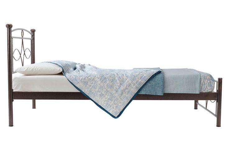 Κρεβάτι Roberto μεταλλικό 110x200 σφυρήλατο καφέ