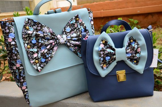 Spring-Summer 2016 NEW collection!!!! Do you love bows? If so, this Is a must have bag Zoe Blue Rose Handmade Backpack Colour: Light