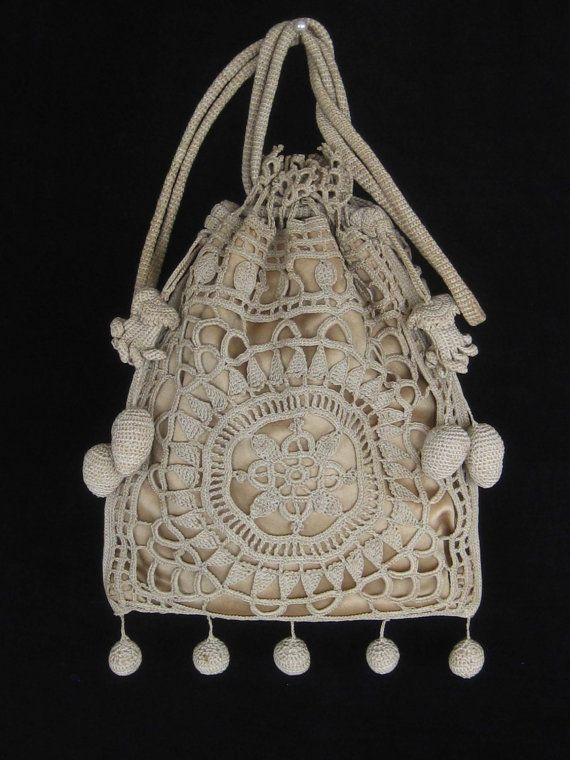 Vintage Crocheted Purse / Reticule   Beautiful, Crocheted ...