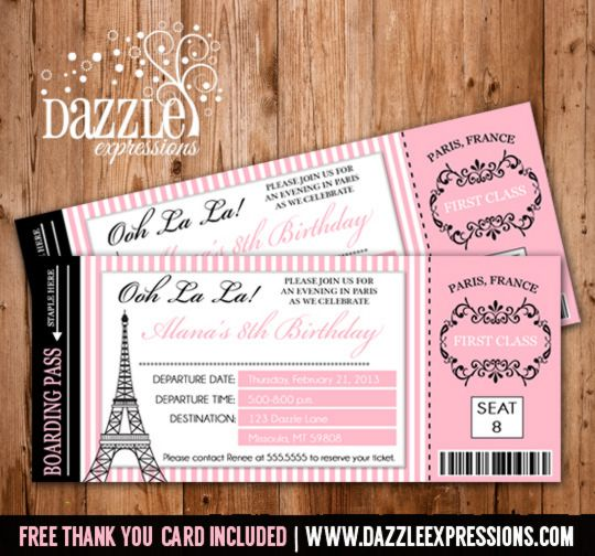 Printable Paris Boarding Pass Birthday Invitation | Paris, France | FREE Thank You Card Included | Girls Birthday Party Idea | Elegant | Become a loyal fan on Facebook to receive freebies and see the latest designs! www.facebook.com/DazzleExpressions