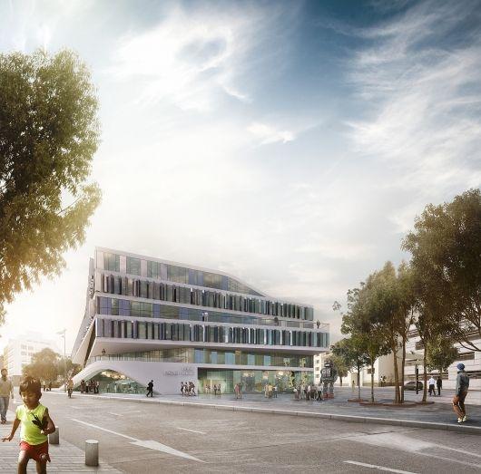 3XN to Design University Building in Stuttgart, Germany | Exterior rendering of 3XN's winning building design for German university Duale Hochschule Baden-Württemberg | Bustler
