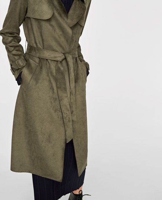 Image 6 of <b>FAUX SUEDE</b> TRENCH COAT from Zara   Тренчи   Тренчи