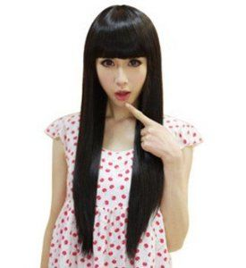 Black Long Straight Wigs For Women Hair Extension Party Wigs by SureWells. $11.29. * Easy to care for and Wash. Wash with normal shampoo in warm but not hot water. Shake off excessive water, wipe with a tower, and dry in air.. *Hair Looks Shiny Natural and Touch Soft.. *100% Top Quality & Brand NEW. 100% Japanese Kanekalon (high quality one) made fiber wigs. *The size is adjustable,it can fit on most people.you can adjust the hooks inside the cap to the correct size to suit ...