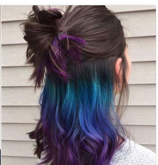 Turquoise, blue purple hair