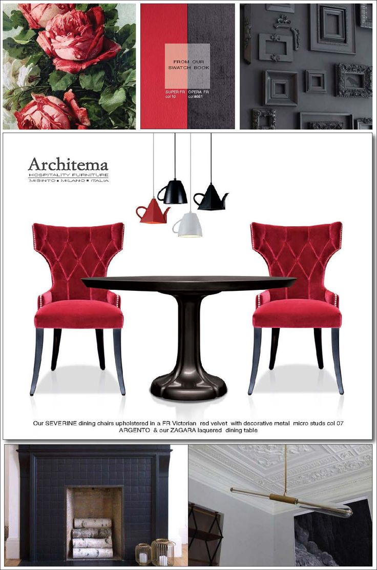 ARCHITEMA  HOSPITALITY FURNITURE - Our SEVERINE dining chairs upholstered in a FR Victorian  red velvet  with decorative metal  micro studs col 07 ARGENTO  & our ZAGARA laquered  dining table
