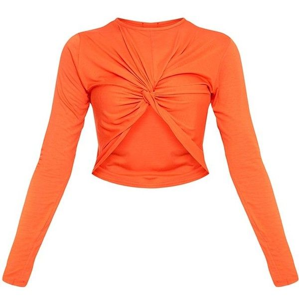 Robyn Orange Knot Front Longsleeve Crop Top ($14) ❤ liked on Polyvore featuring tops, long sleeve tops, cut-out crop tops, knot front crop top, cropped tops and knot front top
