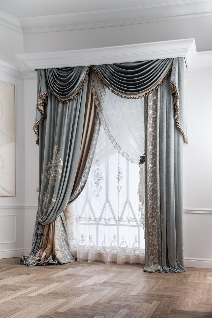 Cornice with swags u0026 curtain panels