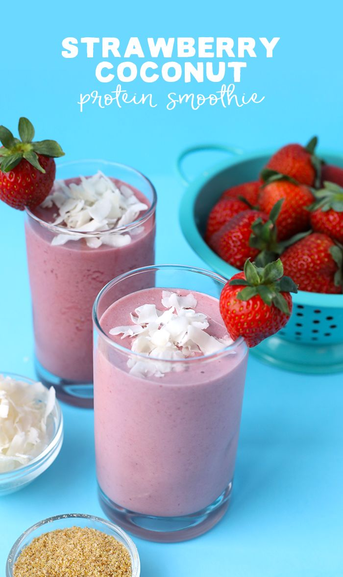 Try this post-workout strawberry coconut protein smoothie after a tough sweat session for a delicious, refreshing way to get an extra boost of fiber and protein!
