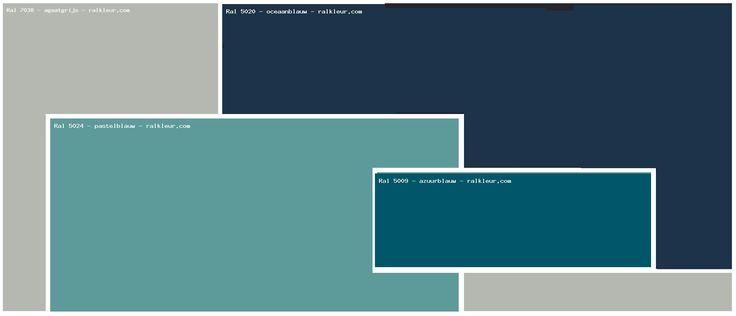 Agaatgrijs op de muur (RAL 7038) Oceaanblauw achter keuken (RAL 5020) Pastel blauw eetkamerwand (RAL 5024)