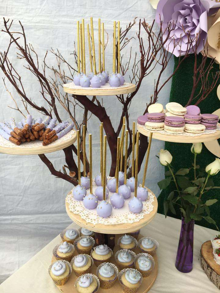 What a stunning dessert stand at this rustic Baby Shower! See more party ideas at CatchMyParty.com